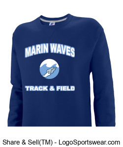 MARIN WAVES RUSSELL YOUTH DRI-POWER CREWNECK SWEATSHIRT Design Zoom